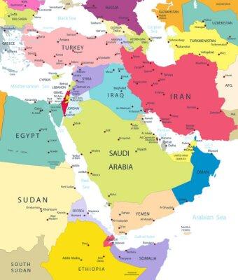 Adesivo Político, mapa, médio, leste, Ásia, isolado, branca