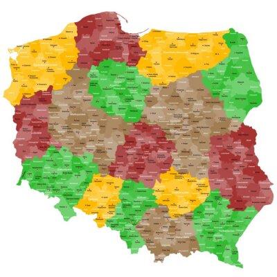 Adesivo Polónia Mapa em detalhes