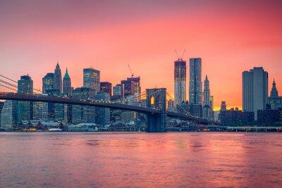 Adesivo Ponte de Brooklyn e Manhattan ao entardecer