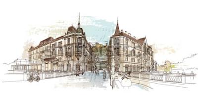 Adesivo Ponte tripla (Tromostovje). Ilustração do vetor de Ljubljana, Eslovênia.