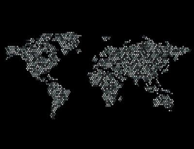 Adesivo Pontilhada Map of the World Continentes aleatória Cinza