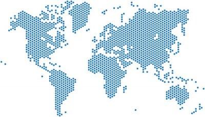 Adesivo Pontos mapa do mundo no fundo branco, ilustração do vetor.