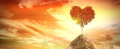 Adesivo Por do sol com árvore do coração
