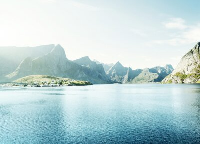 Adesivo Pôr do sol da mola - Reine, Lofoten islands, Noruega