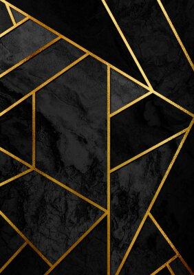 Adesivo Poster de design abstrato moderno e elegante com linhas douradas e padrão geométrico preto.