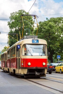 Adesivo Praga, vermelho, bonde, detalhe, tcheco, república