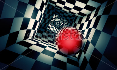 Adesivo Predetermination. Red ball in a chess tunnel (concept image). The space and time. 3D illustration. Available in high-resolution and several. If you buy this image, I will be very grateful to you!