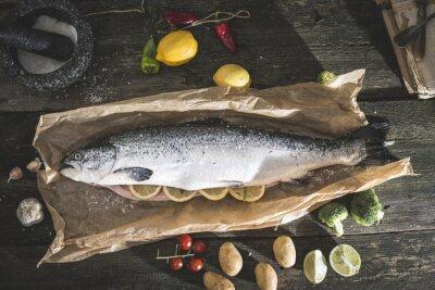 Adesivo Preparar salmão peixe inteiro para cozinhar