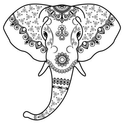 Adesivo Pretas, branca, elefante, cabeça, Mehndi, indianas, style.Vector, Ilustração, isolado, branca, fundo