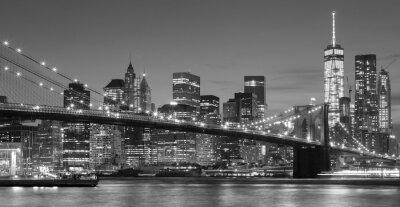 Adesivo Preto e branco beira-mar de Manhattan na noite, NYC.