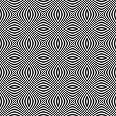 Adesivo Preto e Branco Psychedelic Circular Têxtil Padrão.
