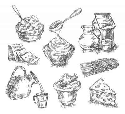 Adesivo Produtos lácteos desenhados mão, leite, queijo. esboço