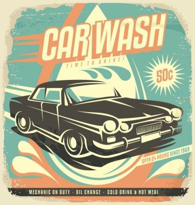 Adesivo Projeto do poster retro da lavagem de carro