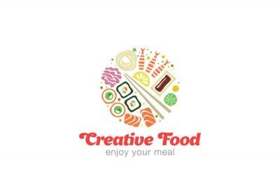 Adesivo Projeto japonês chinês do logotipo do marisco do Sashimi do sushi.