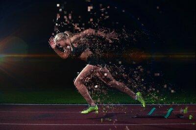 Adesivo projeto pixelated da mulher sprinter deixando blocos de partida