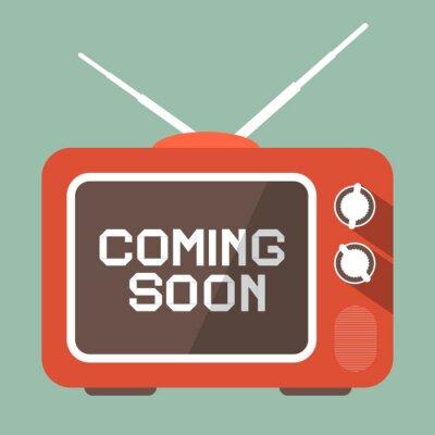 Adesivo Projeto Plano Coming Soon Vector Título em TV Retro Tela