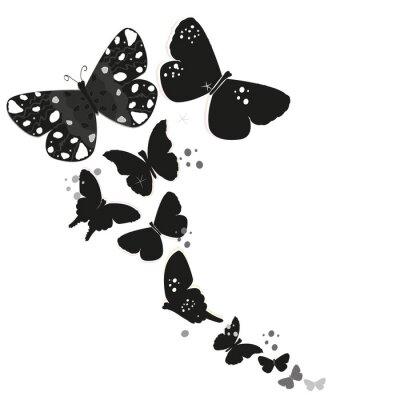 Adesivo Projeto preto da borboleta e fundo abstrato decorativo do vetor das flores