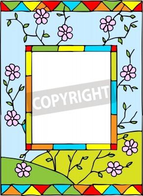 Adesivo Quadro com flores da mola. Estilo vidro manchado. Ilustração do vetor.