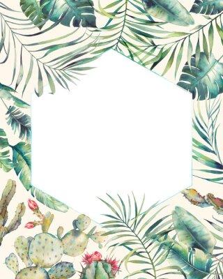 Adesivo Quadro de plantas tropicais de hexágono. Entregue o cartão tirado do verão com cacto, ramos exóticos, folhas da banana, palmeira. Saudação ou modelo de logotipo.