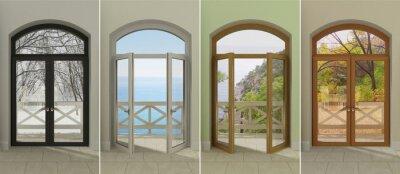 Adesivo Quatro janelas em diferentes épocas do ano. Quatro janelas multi-coloridas com acesso às diferentes estações.