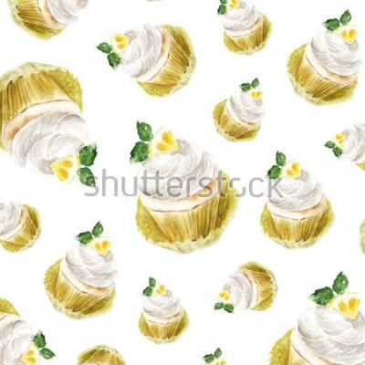 Adesivo Queque do limão com creme de leite, sobremesa doque a ilustração da aquarela. arte de impressão, esboço de moda. fruta do bolo doce padaria citrus.pattern