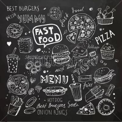 Adesivo Rabiscos de fast food. Mão desenhada vector símbolos e objetos