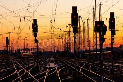 Adesivo Railroad Tracks at a Major Train Station at Sunset.