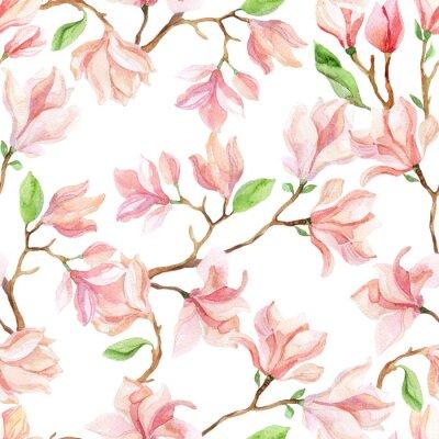 Adesivo Ramos do magnolia da aguarela