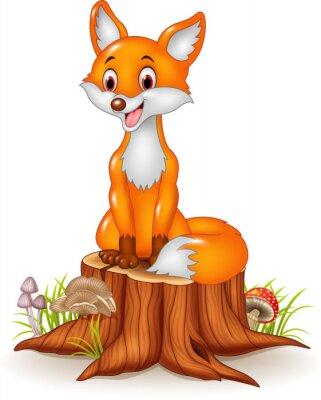Adesivo Raposa feliz dos desenhos animados que senta-se no coto de árvore