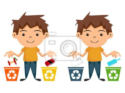 reciclagem para crianças personagem de desenho animado laptop