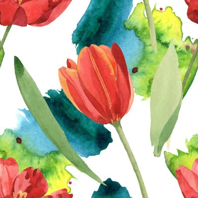Adesivo Red tulip floral botanical flowers. Watercolor background illustration set. Seamless background pattern.