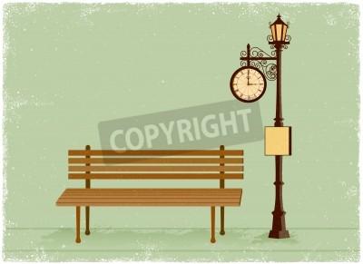 Adesivo Relógio de rua e lâmpada com banco de parque em estilo vetor vintage