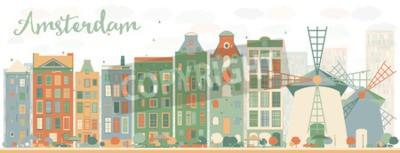Adesivo Resumo do horizonte da cidade de Amsterdã com edifícios coloridos. Ilustração vetorial. Conceito de viagens e turismo de negócios com edifícios históricos. Imagem para apresentação, banner, cartaz e s