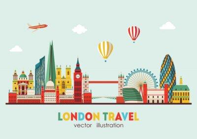 Adesivo Resumo do horizonte de Londres. Ilustração vetorial - vetor de estoque