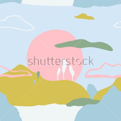 Adesivo Resumo padrão com pôr do sol sobre como montanhas. Textura sem costura de natureza artística contemporânea. Dicas de design para cartaz, cartão moderno, convite, cartaz, folheto, flyer, apresentação