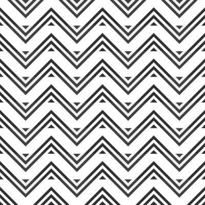 Adesivo Resumo padrão sem emenda de cinza ziguezague no fundo branco