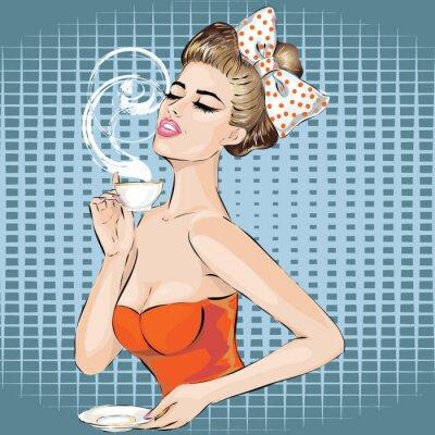 Adesivo Retrato da mulher do pop art com copo da manhã do chá. Menina Pin-up