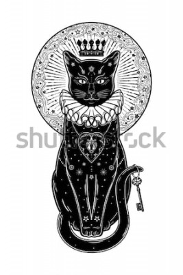 Adesivo Retrato da silhueta do gato preto com chave secreta no fundo da lua. Fundo ideal de Halloween, arte da tatuagem, projeto do boho. Perfeito para impressão, posters, t-shirts, têxteis. Ilustração vetori