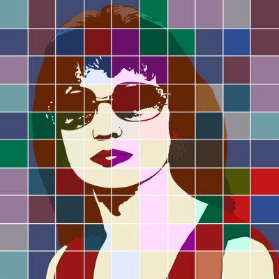 Adesivo Retrato, mulher, efeito, manchado, vidro