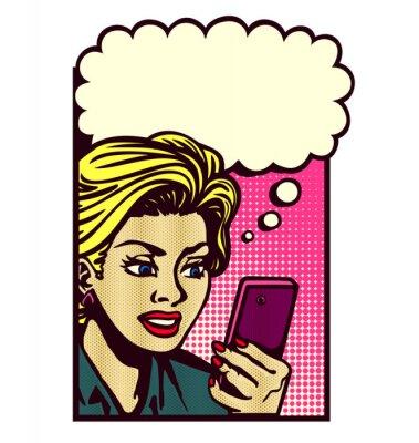 Adesivo Retro, banda desenhada, estilo, mulher, olhar, smartphone, texting, leitura, texto, mensagem, sms, pensando ...
