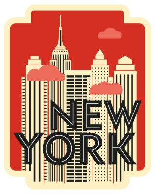 Adesivo Retro design poster New York. Skyscrapers and clouds. Vector drawing