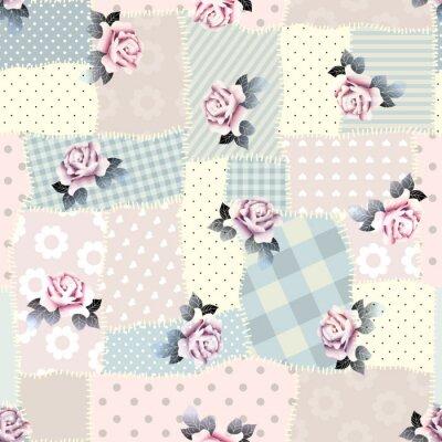 Adesivo Retro patchwork with roses.