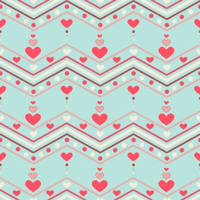 Adesivo Retro style chevron seamless pattern with hearts