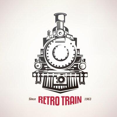 Adesivo Retro, trem, vindima, vetorial, Símbolo, emblema ...