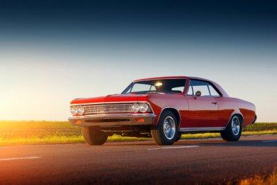 Adesivo Retro, vermelho, car, ficar, asfalto, estrada, pôr do sol