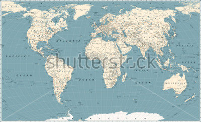 Adesivo Retro World Map and Main State Roads. Large Detailed World Map vector illustration.
