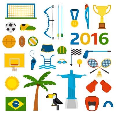 Adesivo Rio verão jogos olímpicos ícones ilustração vetorial