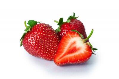 Adesivo Ripe strawberries on white background