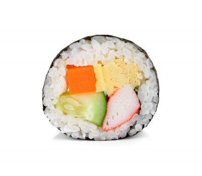 Adesivo Rolo de sushi isolado no branco.