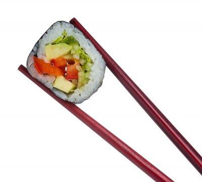 Adesivo Rolo do sushi em pauzinhos isolado no fundo branco